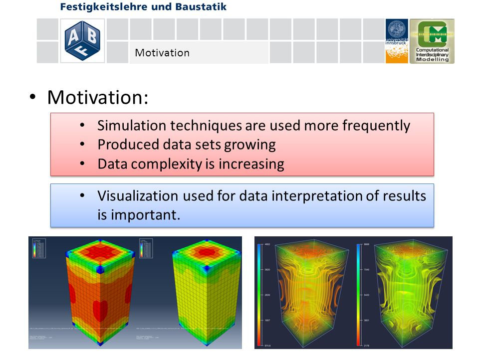 Motivation: Simulation techniques are used more frequently Produced data sets growing Data complexity is increasing Simulation techniques are used more frequently Produced data sets growing Data complexity is increasing Visualization used for data interpretation of results is important.