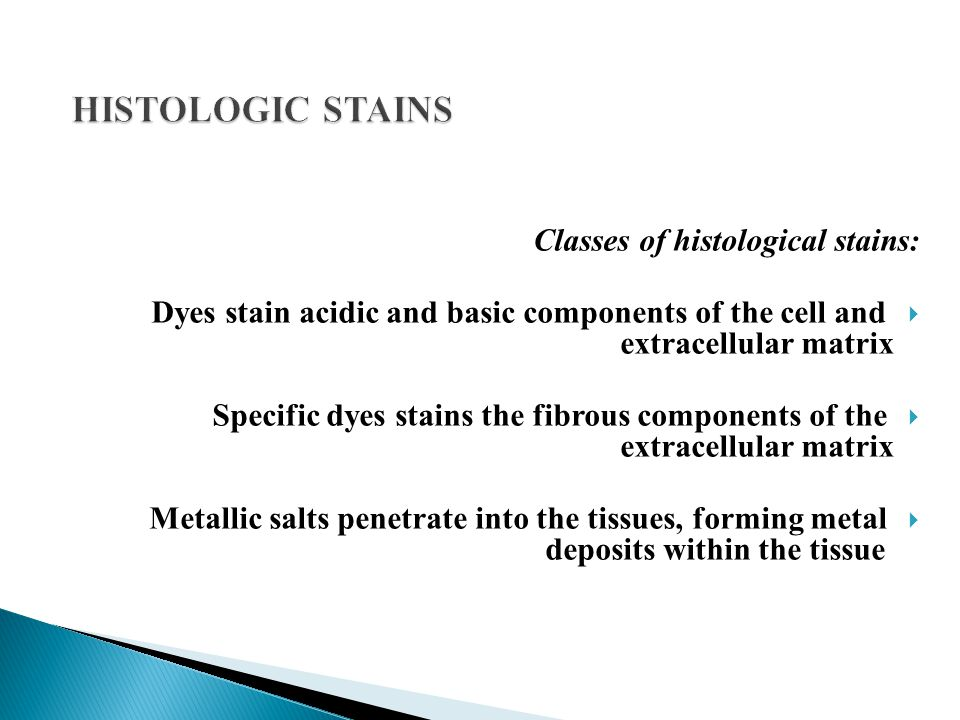 Classes of histological stains:  Dyes stain acidic and basic components of the cell and extracellular matrix  Specific dyes stains the fibrous compo