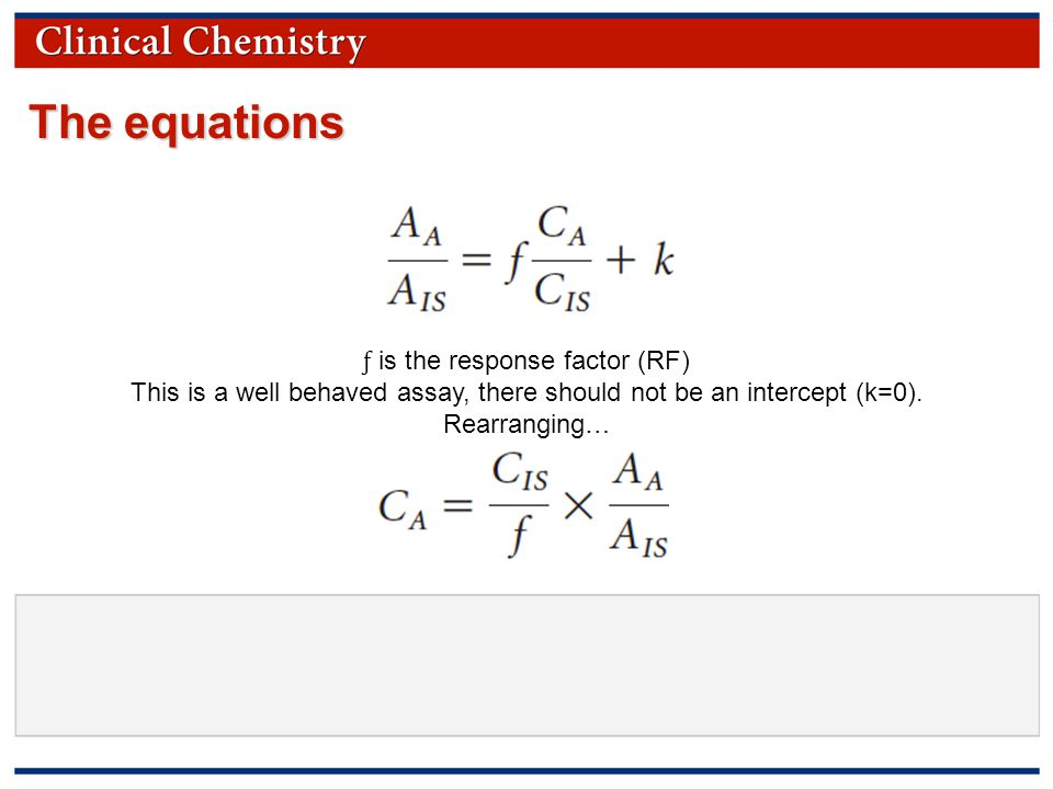 © Copyright 2009 by the American Association for Clinical Chemistry The equations ƒ is the response factor (RF) This is a well behaved assay, there should not be an intercept (k=0).