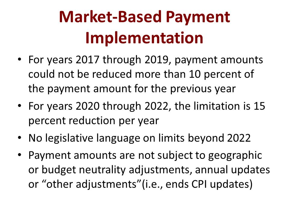 Market-Based Payment Implementation For years 2017 through 2019, payment amounts could not be reduced more than 10 percent of the payment amount for the previous year For years 2020 through 2022, the limitation is 15 percent reduction per year No legislative language on limits beyond 2022 Payment amounts are not subject to geographic or budget neutrality adjustments, annual updates or other adjustments (i.e., ends CPI updates)
