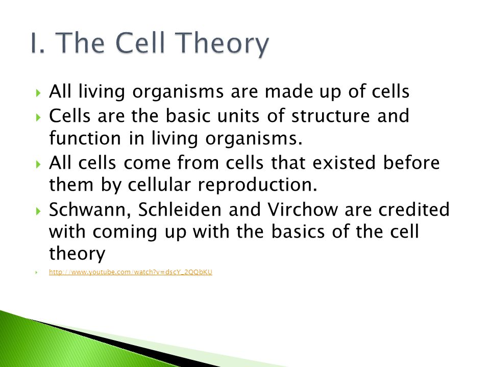  All living organisms are made up of cells  Cells are the basic units of structure and function in living organisms.