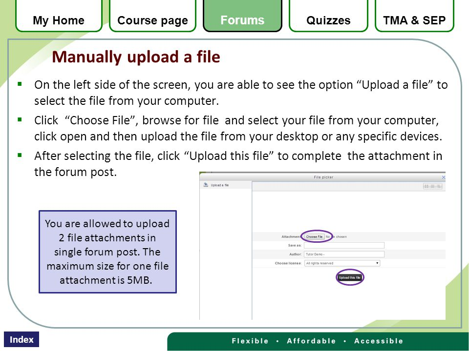  On the left side of the screen, you are able to see the option Upload a file to select the file from your computer.