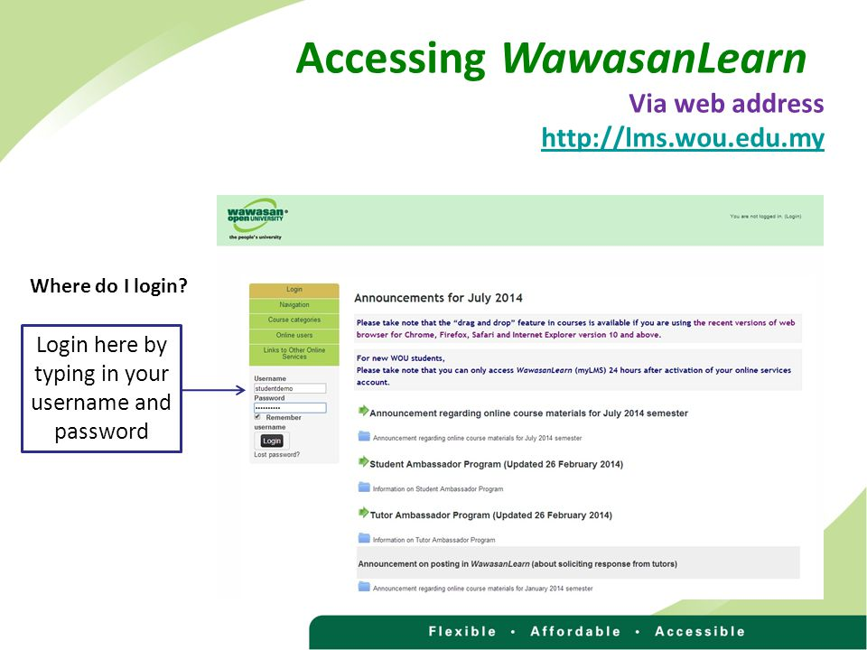 Accessing WawasanLearn Via web address http://lms.wou.edu.my Login here by typing in your username and password Where do I login
