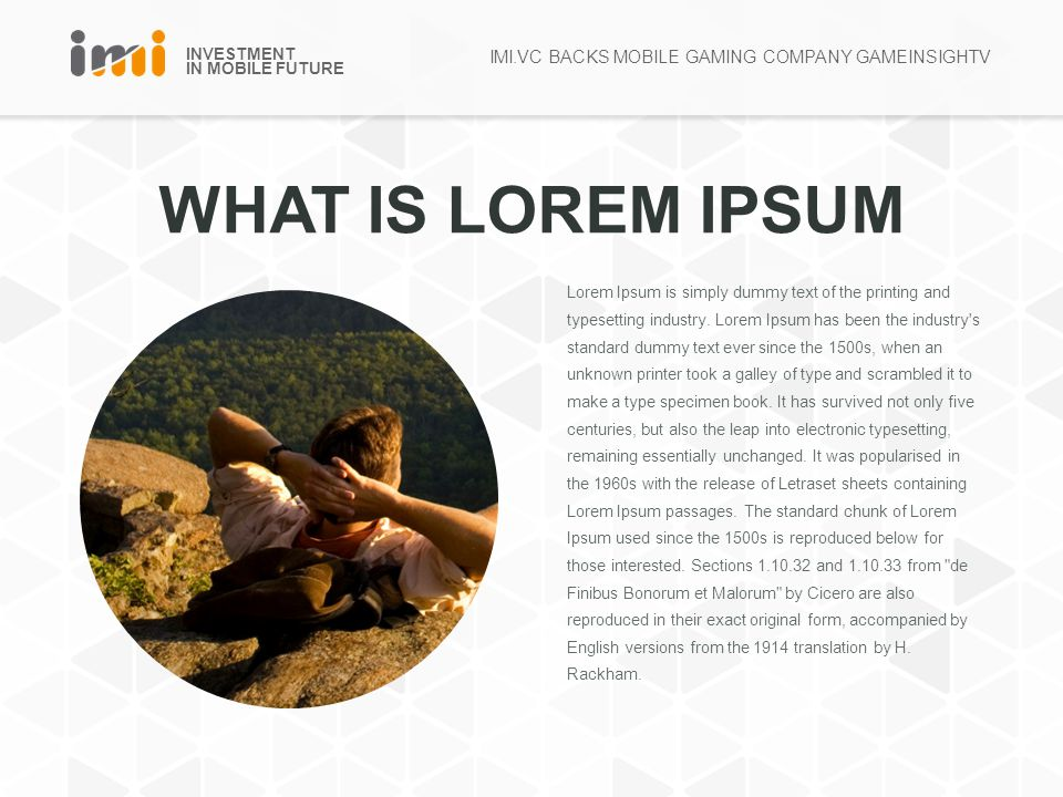 INVESTMENT IN MOBILE FUTURE WHAT IS LOREM IPSUM Lorem Ipsum is simply dummy text of the printing and typesetting industry.