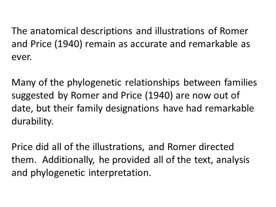 The anatomical descriptions and illustrations of Romer and Price (1940) remain as accurate and remarkable as ever. Many of the phylogenetic relationsh