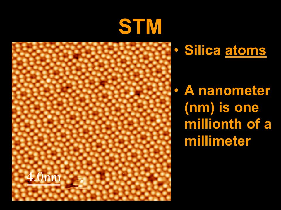 STM Silica atoms A nanometer (nm) is one millionth of a millimeter