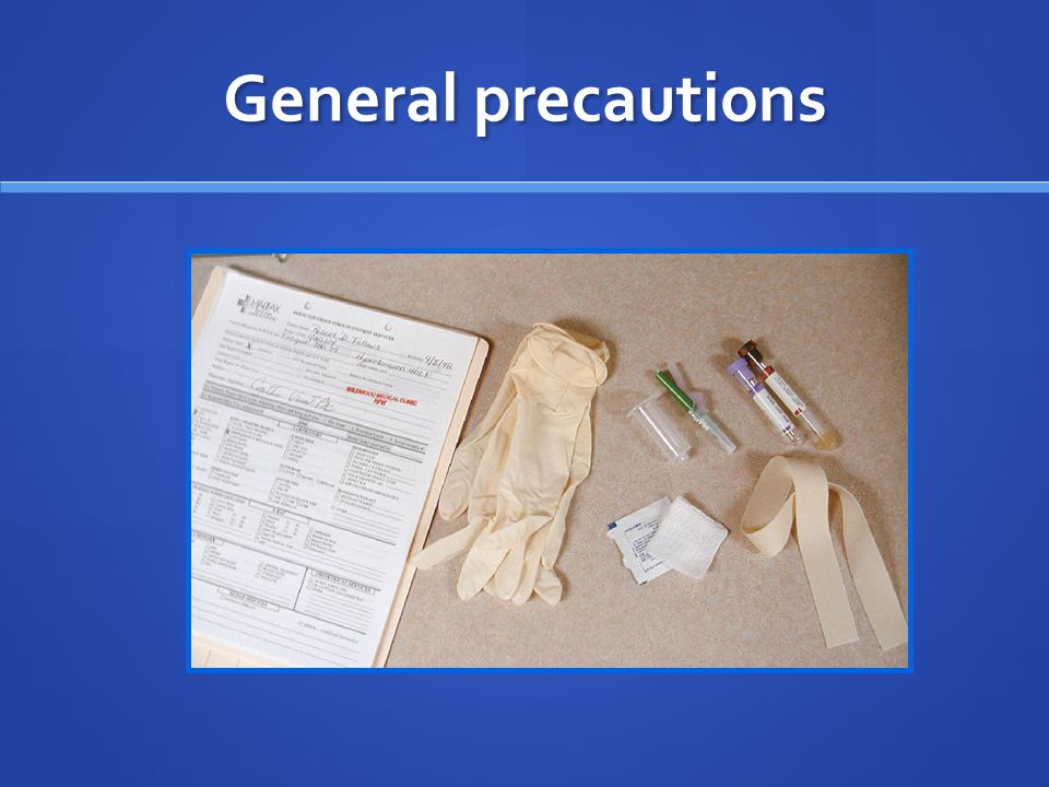 asks the pt for his/her name (check with the name on the wrist band) asks the pt for his/her name (check with the name on the wrist band) specimen containers should be labeled with: specimen containers should be labeled with: patient name patient name hospital or identification number hospital or identification number location in the hospital location in the hospital date & time of collection date & time of collection use of disposable latex rubber gloves, especially before collection of any blood specimen.