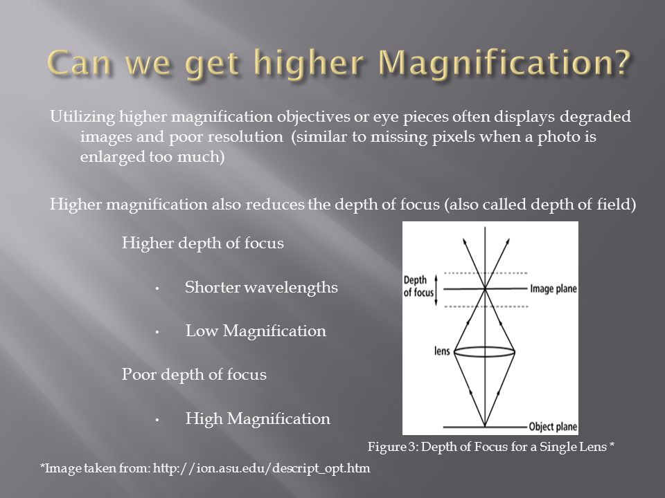 Utilizing higher magnification objectives or eye pieces often displays degraded images and poor resolution (similar to missing pixels when a photo is enlarged too much) Higher magnification also reduces the depth of focus (also called depth of field) Figure 3: Depth of Focus for a Single Lens * Higher depth of focus Shorter wavelengths Low Magnification Poor depth of focus High Magnification *Image taken from: http://ion.asu.edu/descript_opt.htm