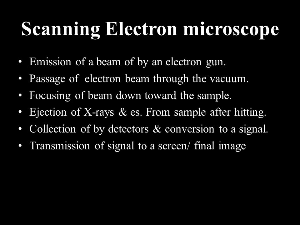 Scanning Electron microscope Emission of a beam of by an electron gun.