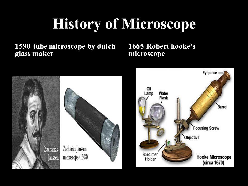 History of Microscope 1590-tube microscope by dutch glass maker 1665-Robert hooke's microscope