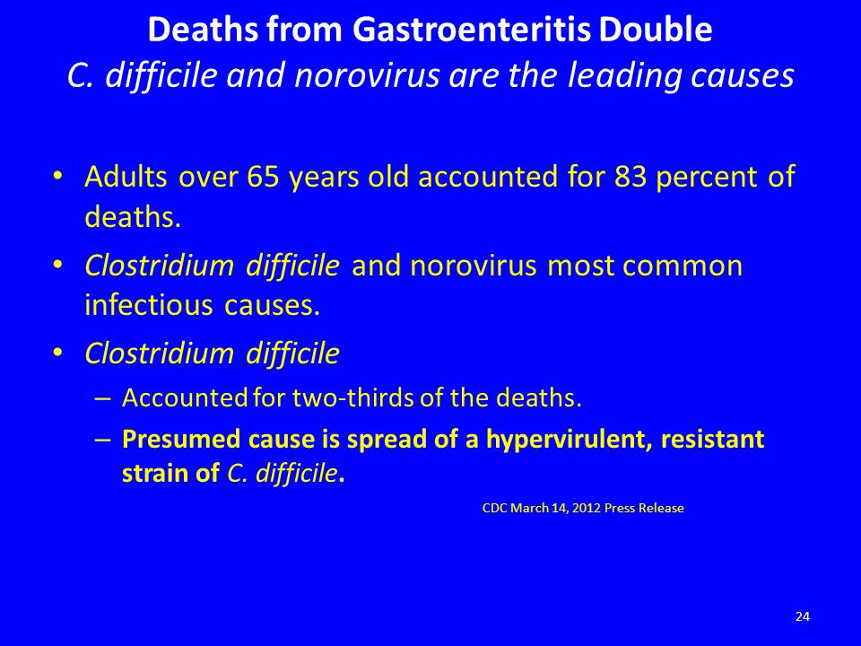 Deaths from Gastroenteritis Double C. difficile and norovirus are the leading causes Adults over 65 years old accounted for 83 percent of deaths. Clos