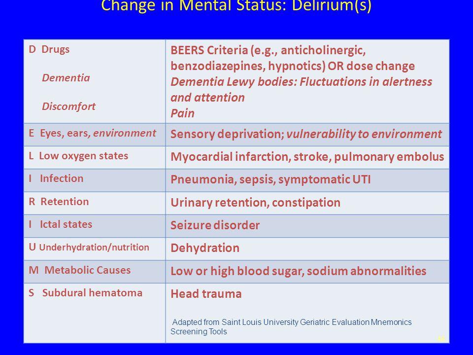 Change in Mental Status: Delirium(s) D Drugs Dementia Discomfort BEERS Criteria (e.g., anticholinergic, benzodiazepines, hypnotics) OR dose change Dem