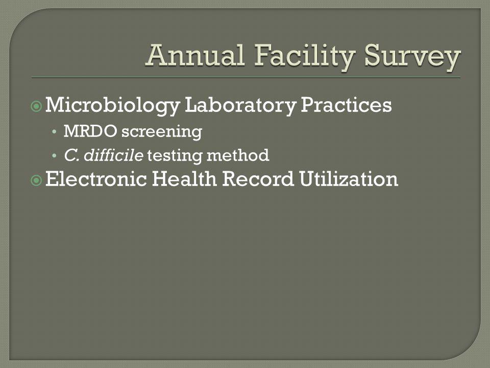  Microbiology Laboratory Practices MRDO screening C. difficile testing method  Electronic Health Record Utilization