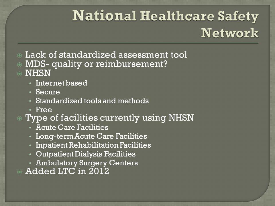  Lack of standardized assessment tool  MDS- quality or reimbursement.