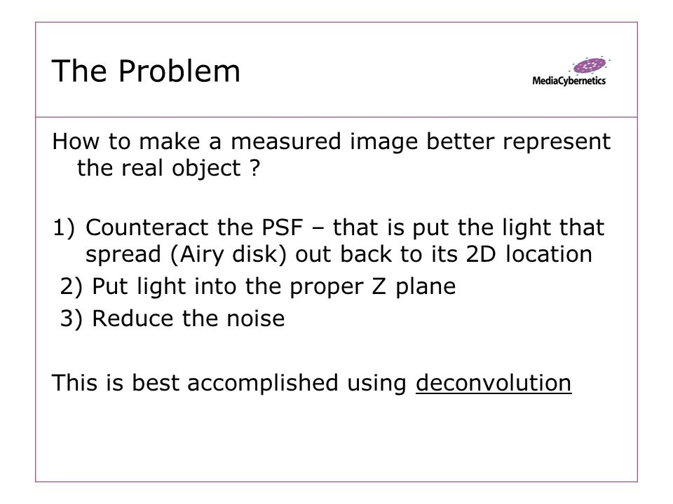 The Problem How to make a measured image better represent the real object .