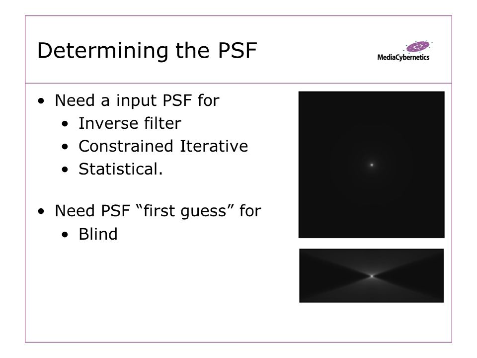 Determining the PSF Need a input PSF for Inverse filter Constrained Iterative Statistical.