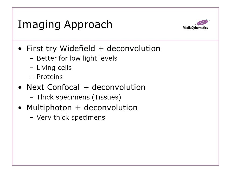 ImagingApproach First try Widefield + deconvolution –Better for low light levels –Living cells –Proteins Next Confocal + deconvolution –Thick specimens (Tissues) Multiphoton + deconvolution –Very thick specimens