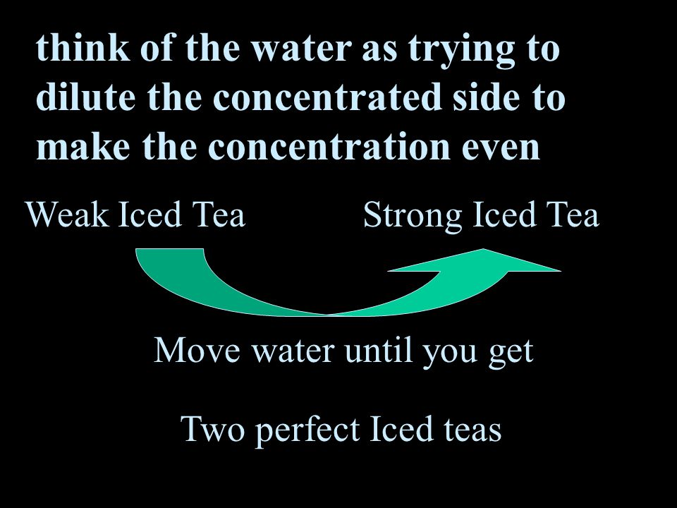 think of the water as trying to dilute the concentrated side to make the concentration even Weak Iced TeaStrong Iced Tea Move water until you get Two perfect Iced teas