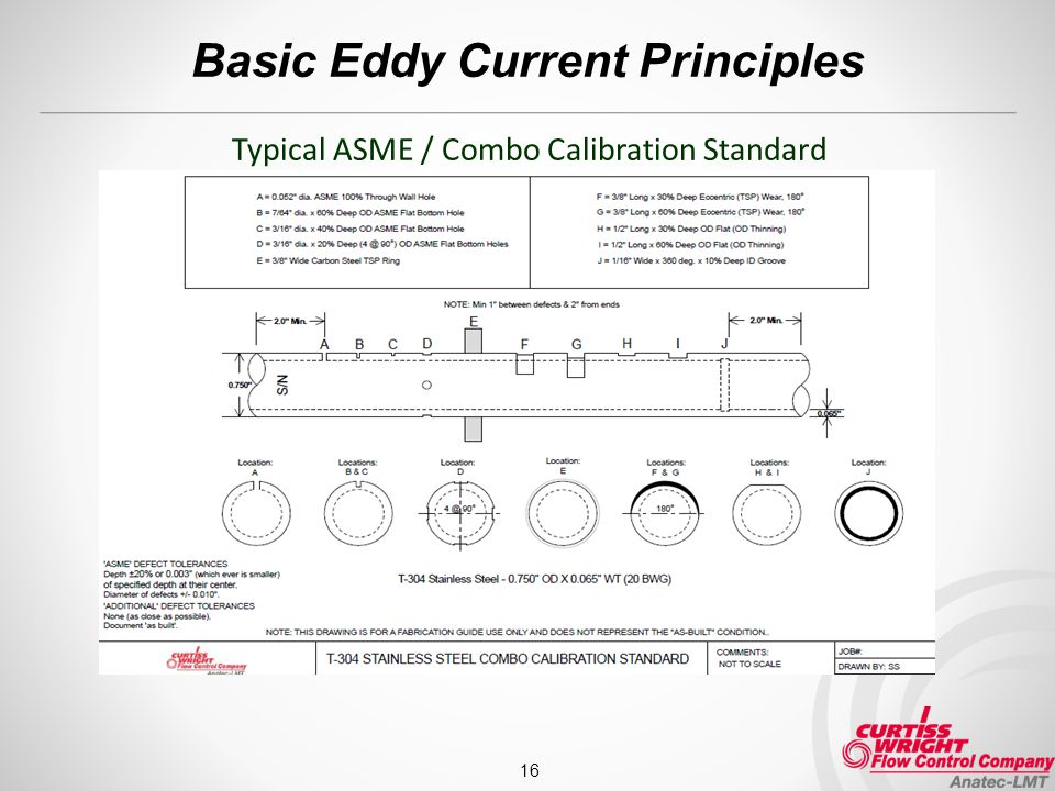 Basic Eddy Current Principles 16 Typical ASME / Combo Calibration Standard