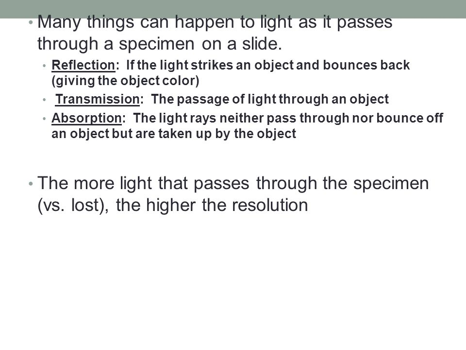 Many things can happen to light as it passes through a specimen on a slide.