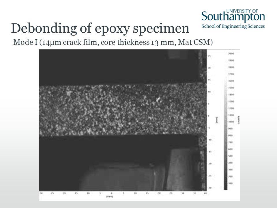 Debonding of epoxy specimen Mode I (14μm crack film, core thickness 13 mm, Mat CSM)