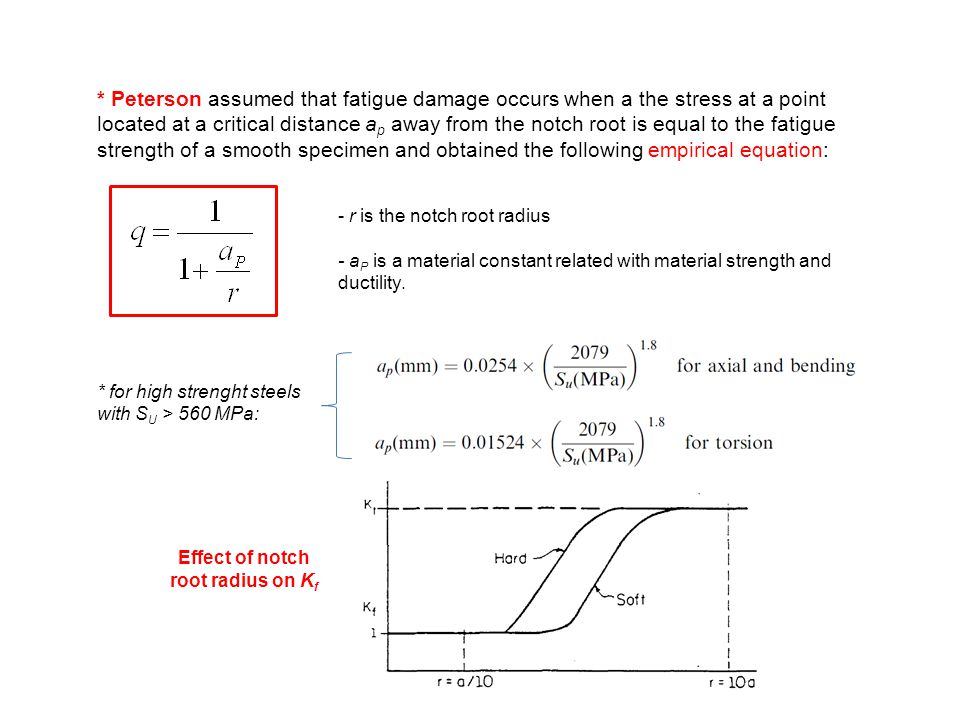 * Peterson assumed that fatigue damage occurs when a the stress at a point located at a critical distance a p away from the notch root is equal to the