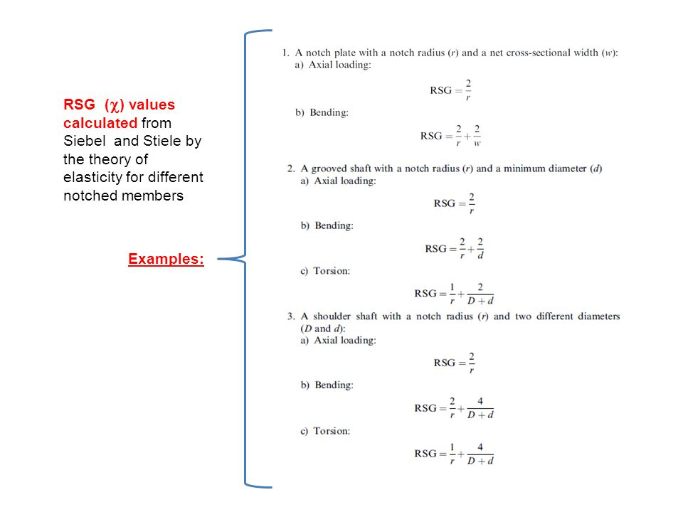RSG (  ) values calculated from Siebel and Stiele by the theory of elasticity for different notched members Examples: