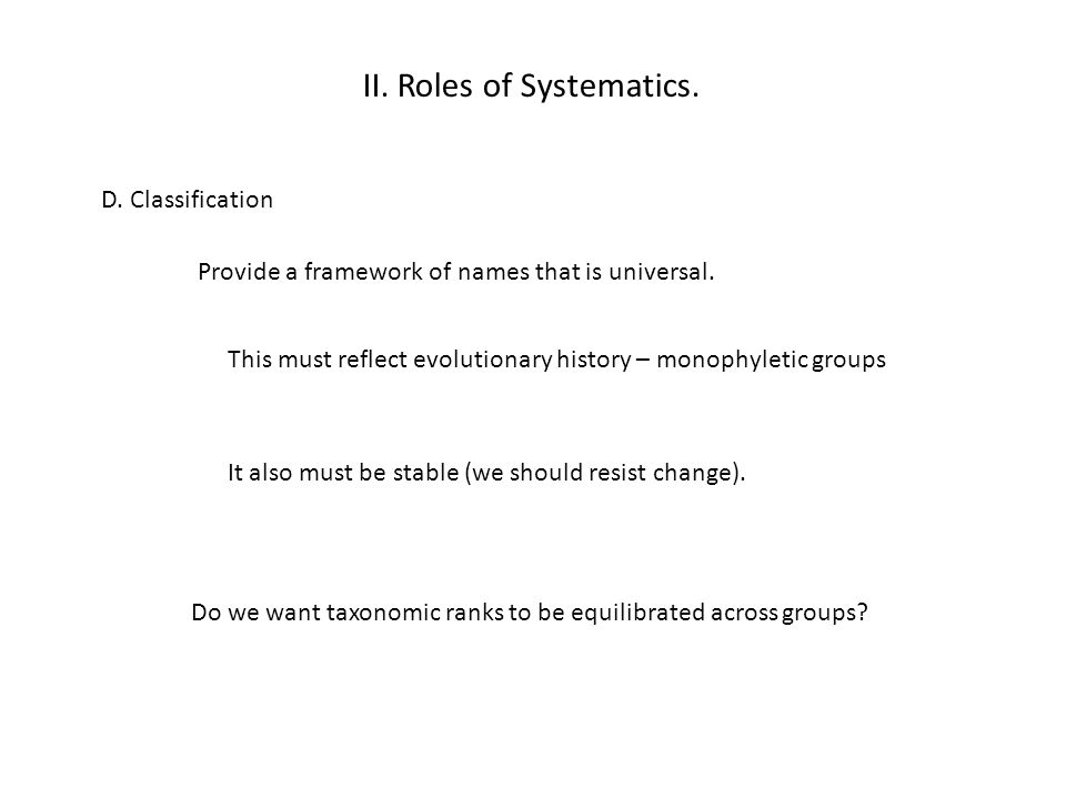 II.Roles of Systematics. D. Classification Provide a framework of names that is universal.
