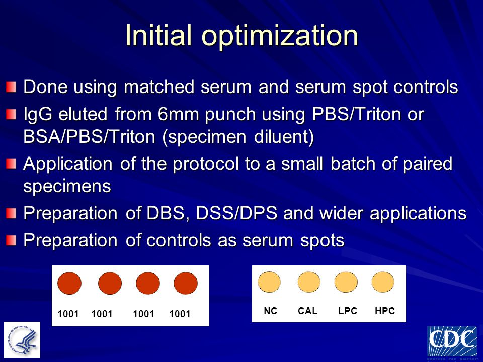 Initial optimization Done using matched serum and serum spot controls IgG eluted from 6mm punch using PBS/Triton or BSA/PBS/Triton (specimen diluent) Application of the protocol to a small batch of paired specimens Preparation of DBS, DSS/DPS and wider applications Preparation of controls as serum spots NC CAL LPC HPC 1001 1001