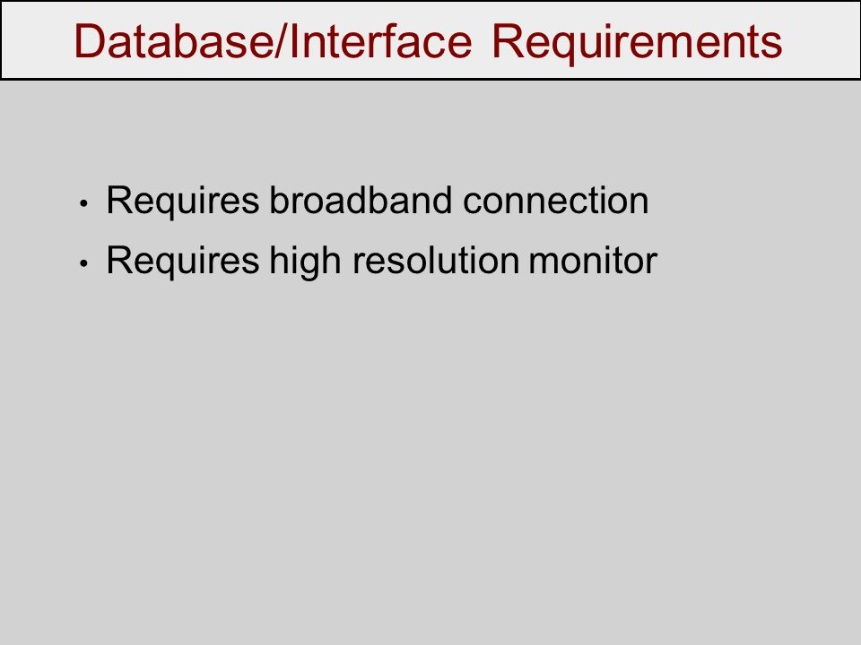 Requires broadband connection Requires high resolution monitor Database/Interface Requirements