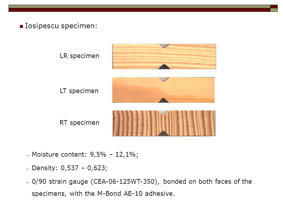 Iosipescu specimen: RT specimen LT specimen LR specimen ─ Moisture content: 9,5% – 12,1%; ─ Density: 0,537 – 0,623; ─ 0/90 strain gauge (CEA-06-125WT-350), bonded on both faces of the specimens, with the M-Bond AE-10 adhesive.