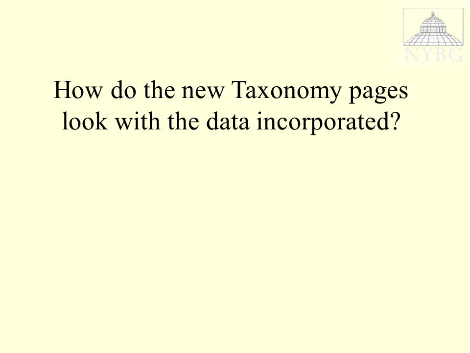 How do the new Taxonomy pages look with the data incorporated
