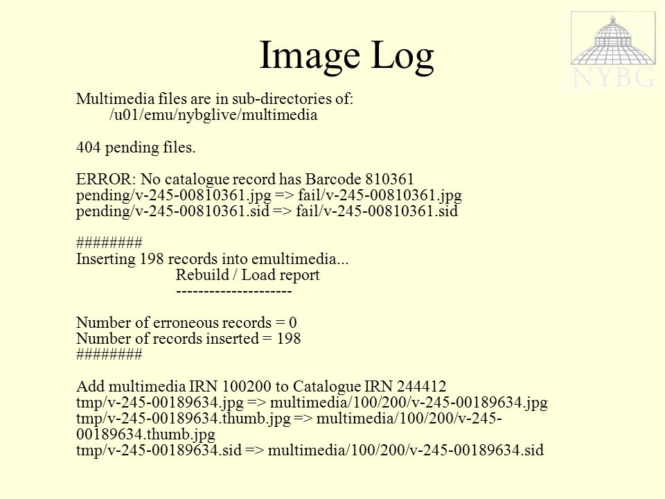 Image Log Multimedia files are in sub-directories of: /u01/emu/nybglive/multimedia 404 pending files.