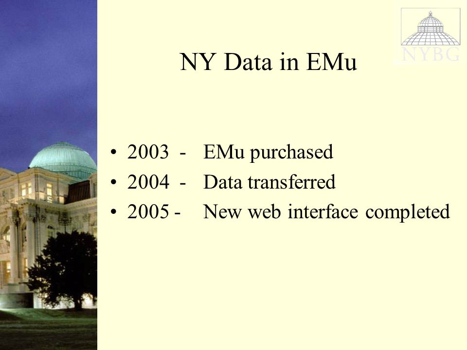 NY Data in EMu EMu purchased Data transferred New web interface completed