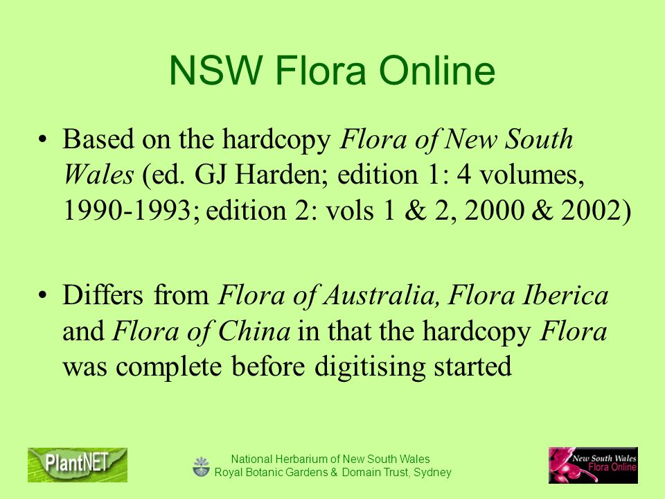 National Herbarium of New South Wales Royal Botanic Gardens & Domain Trust, Sydney NSW Flora Online Based on the hardcopy Flora of New South Wales (ed.