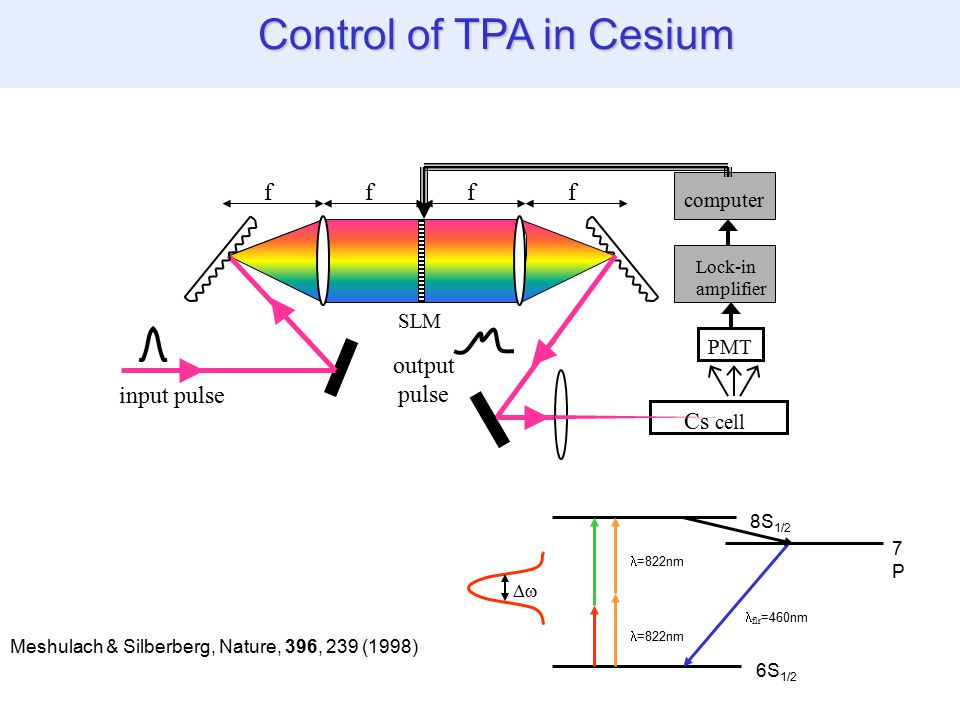 Control of TPA in Cesium ffff PMT Lock-in amplifier computer input pulse output pulse SLM Cs cell 6S 1/2 8S 1/2 7P7P  =822nm flr =460nm =822nm Meshulach & Silberberg, Nature, 396, 239 (1998)