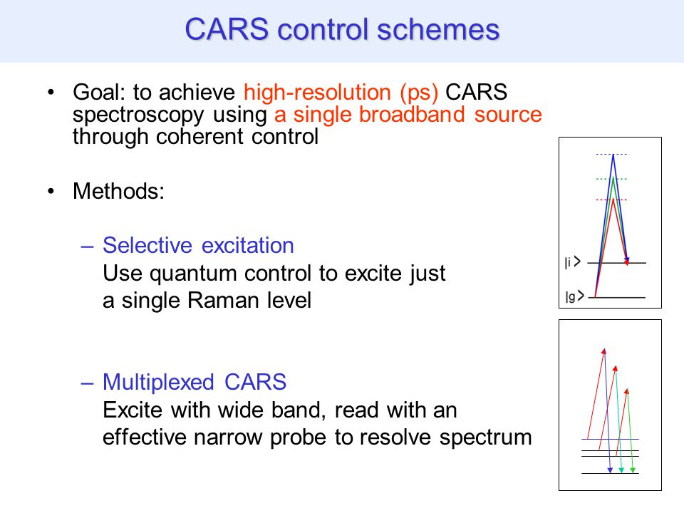 CARS control schemes Goal: to achieve high-resolution (ps) CARS spectroscopy using a single broadband source through coherent control Methods: –Selective excitation Use quantum control to excite just a single Raman level –Multiplexed CARS Excite with wide band, read with an effective narrow probe to resolve spectrum