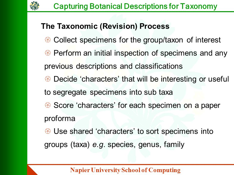 Napier University School of Computing Capturing Botanical Descriptions for Taxonomy Some Problems with Taxonomy { Labour intensive { 'Characters' are poorly defined { A taxon revision is often the work of one individual and highly idiosyncratic { Only characters of interest (to this revision) are recorded { Raw data (the proforma) is often discarded { Character data is not easily compared between proforma sets - as definitions are not captured