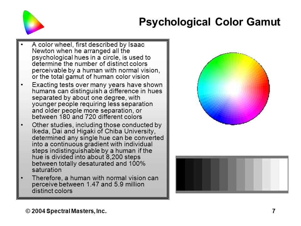 © 2004 Spectral Masters, Inc.7 Psychological Color Gamut A color wheel, first described by Isaac Newton when he arranged all the psychological hues in a circle, is used to determine the number of distinct colors perceivable by a human with normal vision, or the total gamut of human color vision Exacting tests over many years have shown humans can distinguish a difference in hues separated by about one degree, with younger people requiring less separation and older people more separation, or between 180 and 720 different colors Other studies, including those conducted by Ikeda, Dai and Higaki of Chiba University, determined any single hue can be converted into a continuous gradient with individual steps indistinguishable by a human if the hue is divided into about 8,200 steps between totally desaturated and 100% saturation Therefore, a human with normal vision can perceive between 1.47 and 5.9 million distinct colors