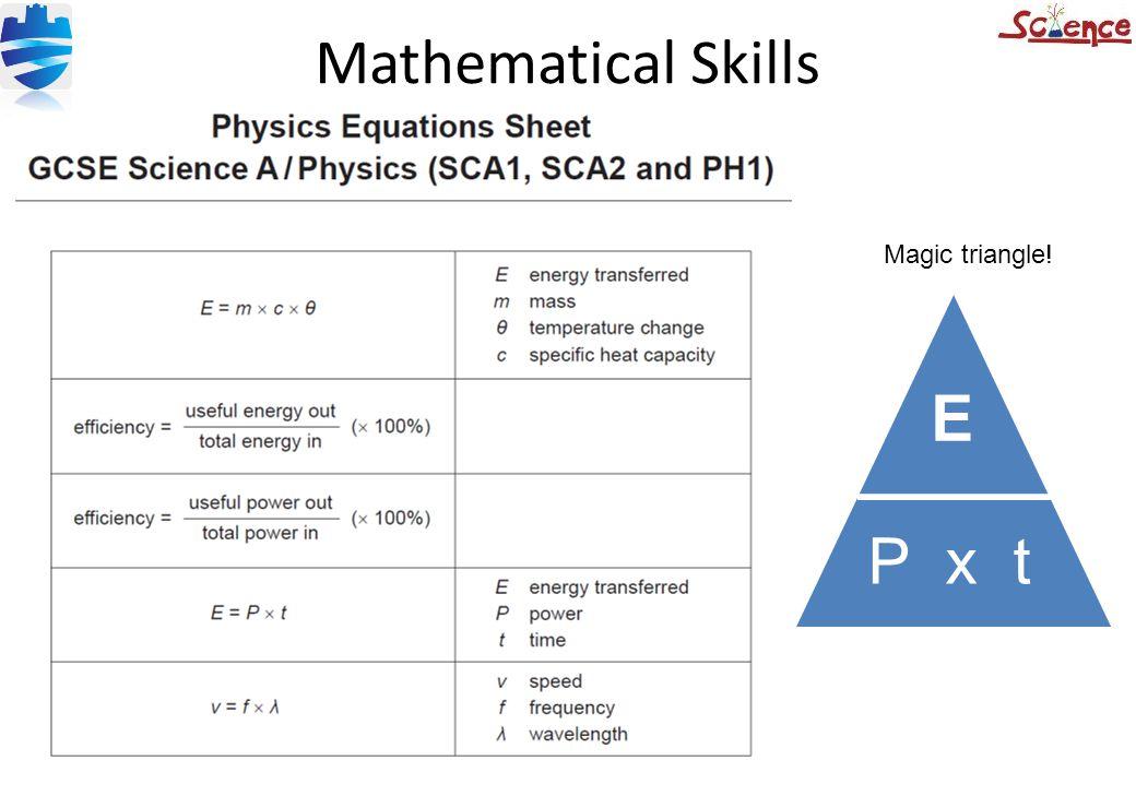 Mathematical Skills E P x t Magic triangle!