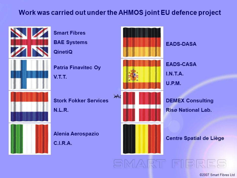 ©2007 Smart Fibres Ltd  Acrobat Document Work was carried out under the AHMOS joint EU defence project Smart Fibres BAE Systems QinetiQ Patria Finavi