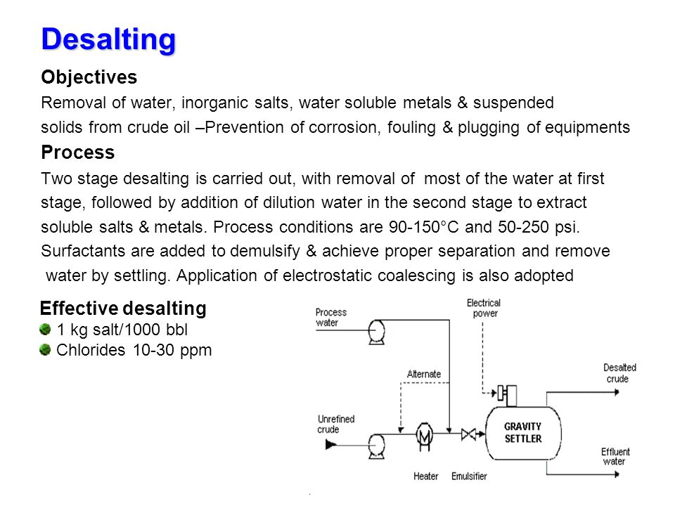 Desalting Objectives Removal of water, inorganic salts, water soluble metals & suspended solids from crude oil –Prevention of corrosion, fouling & plu