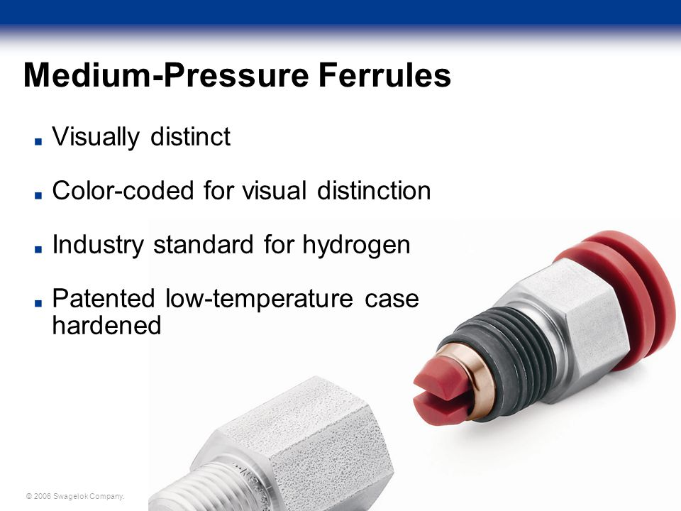 © 2006 Swagelok Company. Medium-Pressure Ferrules Visually distinct Color-coded for visual distinction Industry standard for hydrogen Patented low-tem
