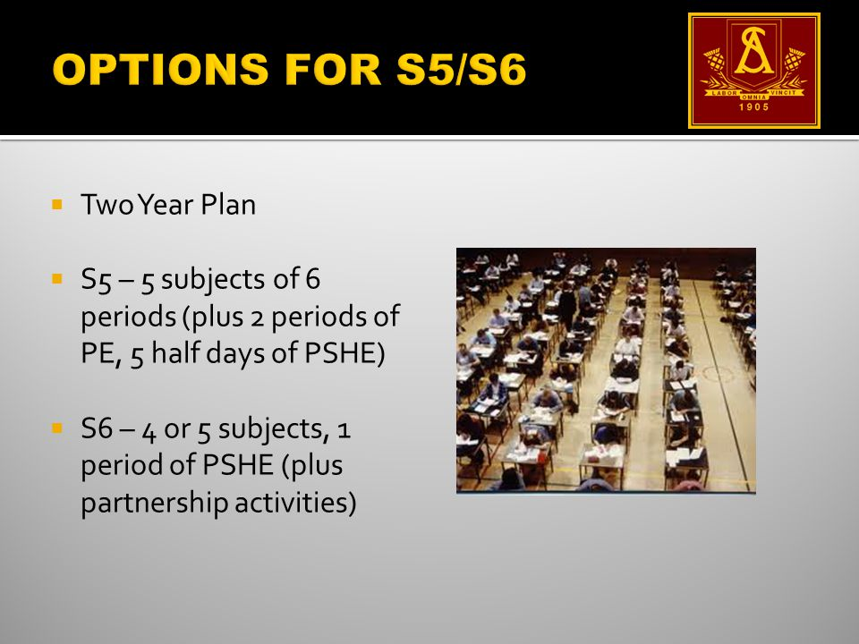  Two Year Plan  S5 – 5 subjects of 6 periods (plus 2 periods of PE, 5 half days of PSHE)  S6 – 4 or 5 subjects, 1 period of PSHE (plus partnership