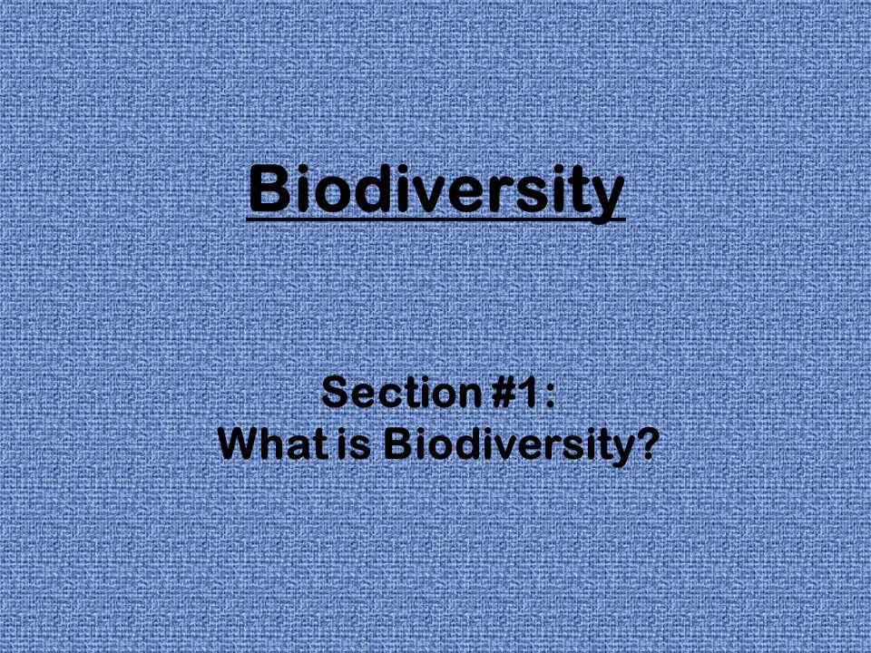 Biodiversity Section #1: What is Biodiversity