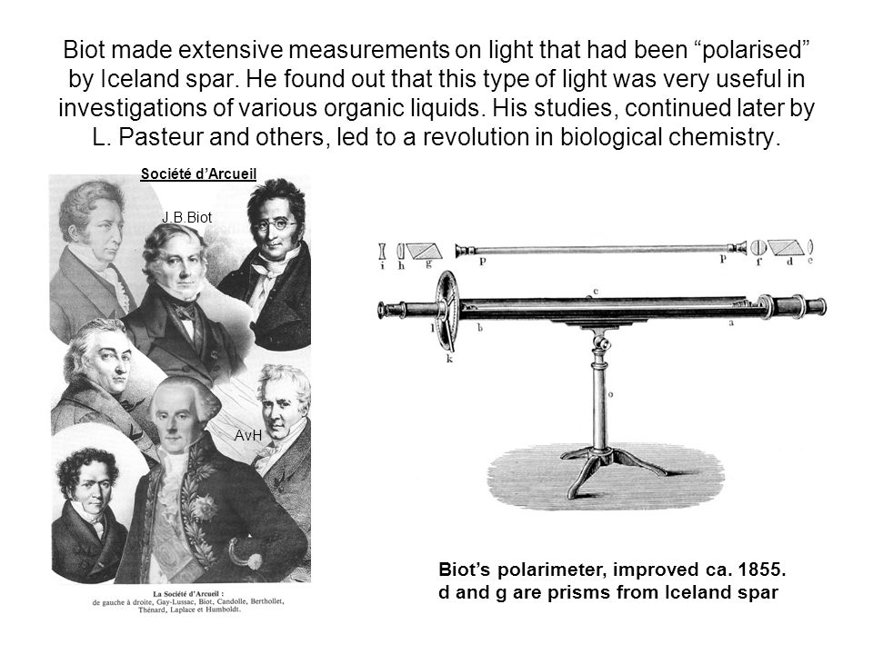 "Biot made extensive measurements on light that had been ""polarised"" by Iceland spar. He found out that this type of light was very useful in investiga"