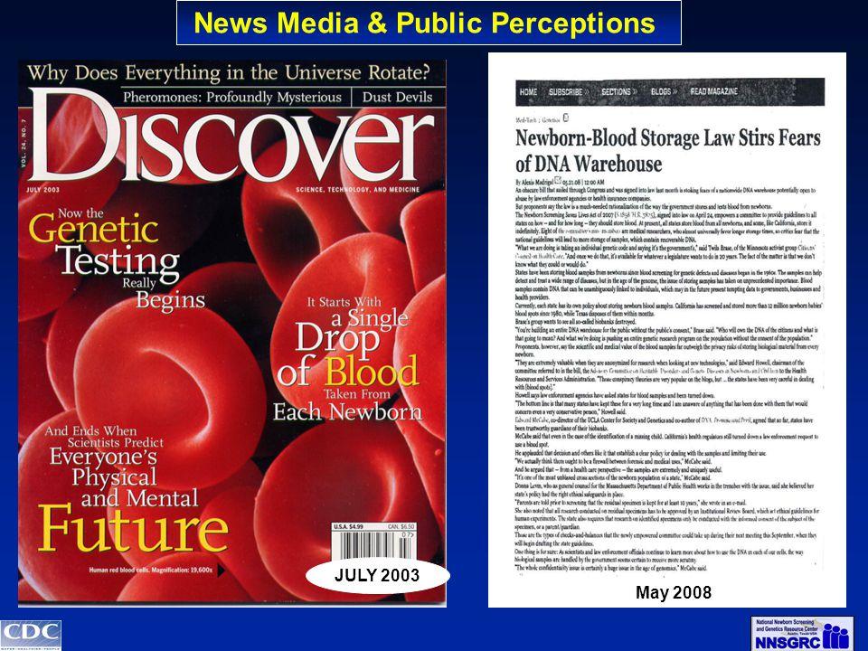 JULY 2003 May 2008 News Media & Public Perceptions