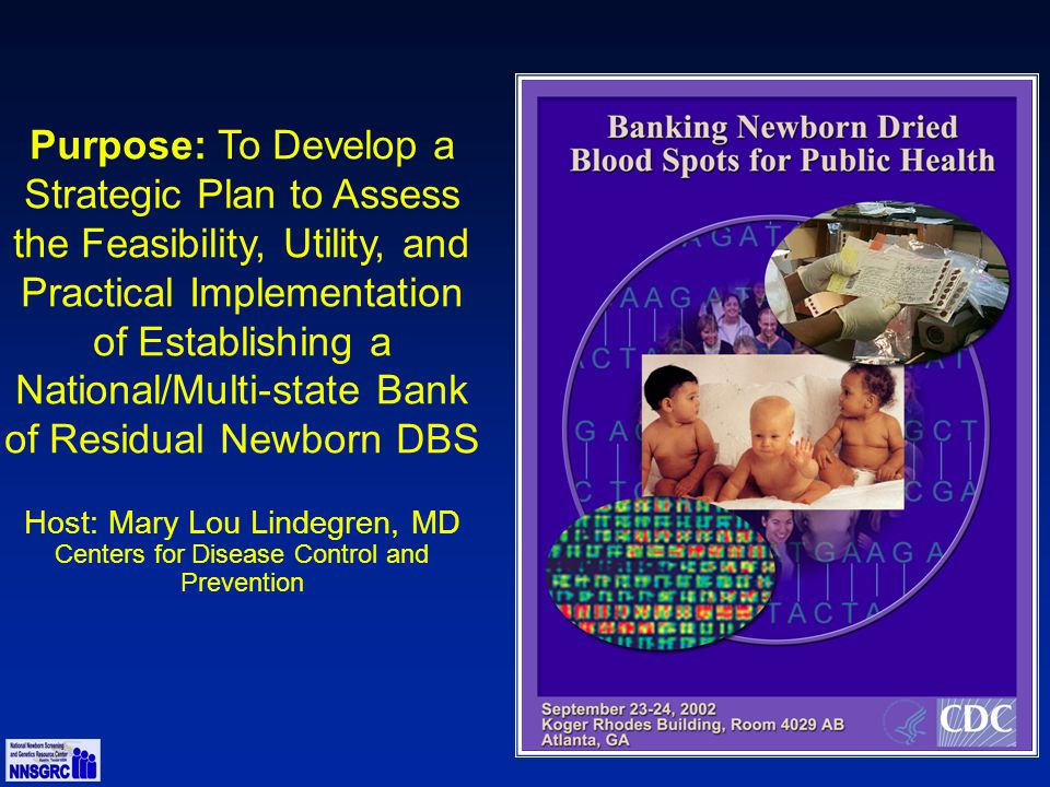 Purpose: To Develop a Strategic Plan to Assess the Feasibility, Utility, and Practical Implementation of Establishing a National/Multi-state Bank of Residual Newborn DBS Host: Mary Lou Lindegren, MD Centers for Disease Control and Prevention