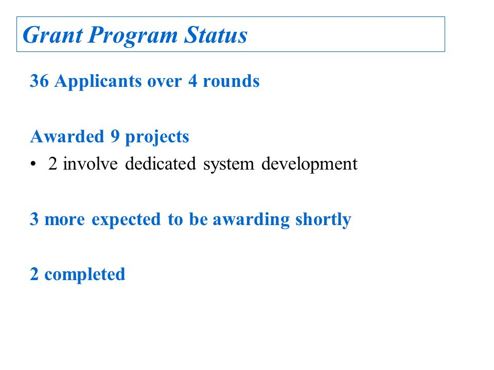 36 Applicants over 4 rounds Awarded 9 projects 2 involve dedicated system development 3 more expected to be awarding shortly 2 completed Grant Program Status