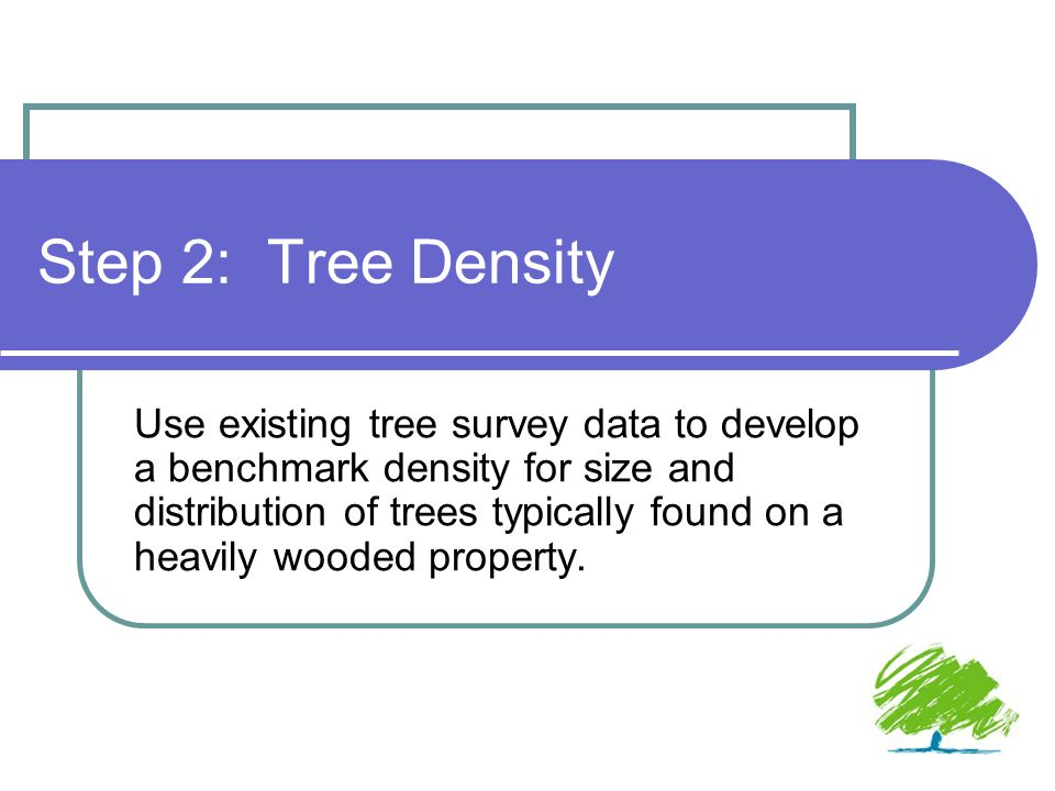 Step 2: Tree Density Use existing tree survey data to develop a benchmark density for size and distribution of trees typically found on a heavily wooded property.